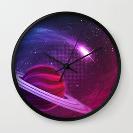 Outer Space Comet flying around the planet Wall Clock