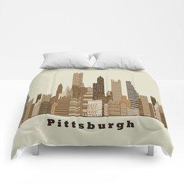 Pittsburgh skyline vintage Comforters