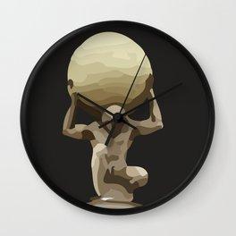 Man with Big Ball Illustration dark grey Wall Clock