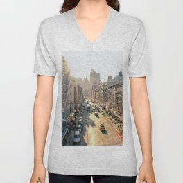 New York City - Chinatown from Above at Sunset Unisex V-Neck