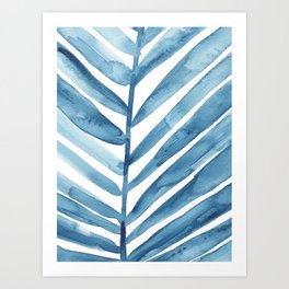 Blue Palm Leaf Crop Art Print