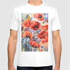 watercolor poppies White Mens Fitted Tee MEDIUM