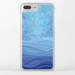 Blue Mandala Sunset at the Ocean Clear iPhone Case