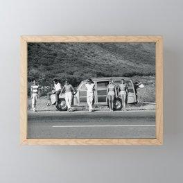 Vintage Surfing Woody Wagon Framed Mini Art Print
