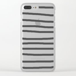 Simply Drawn Stripes in Simply Gray Clear iPhone Case