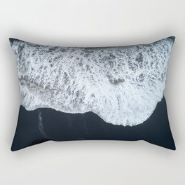 White Waters and Black Sand Aerial Coastal Landscape Photograph Rectangular Pillow