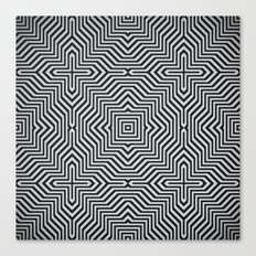 Minimal Geometrical Optical Illusion Style Pattern in Black & White Canvas Print