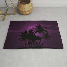 Purple Dusk with Surfergirl in Black Silhouette with Shortboard Rug