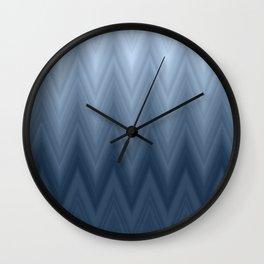 Navy Blue Chevron Ombre Wall Clock