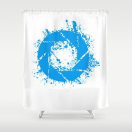 Portal Splatter Logo Shower Curtain