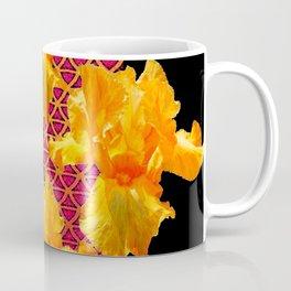 Golden Spring Iris Patterned Black  Decor Coffee Mug
