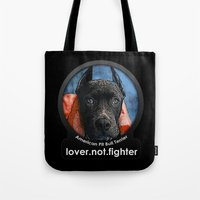 pit bull Tote Bags featuring Pit Bull by Galen Valle