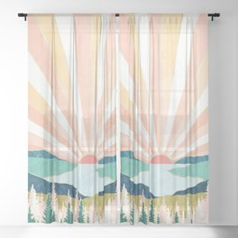 Summer Sunset Sheer Curtain