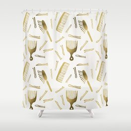 Good Hair Day – Gold Palette Shower Curtain