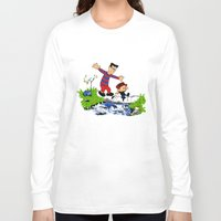 calvin and hobbes Long Sleeve T-shirts featuring Little Viking and Strong Man ('Calvin and Hobbes' / 'Pete and Pete' parody) by PeterParkerPA