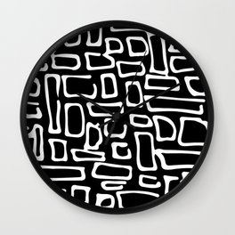 Set of eight black and white wave patterns. Adult Coloring pages. Wall Clock