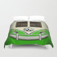 vans Duvet Covers featuring Special Gift for Summer Holiday green minivan minibus iPhone 4 4s 5 5c 6, pillow case and mugs by Three Second