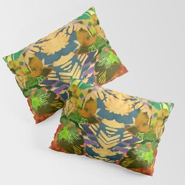 Watercolor Iris Flower with Shadows - Gold Pillow Sham