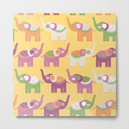 Cheerful pattern with elephants. Purple orange, green Metal Print