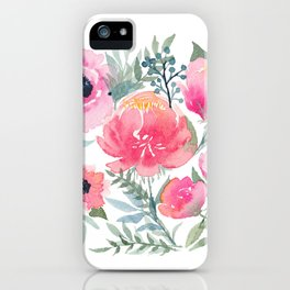 Peony and Poppy Flower Bouquet iPhone Case