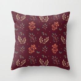 RED MERLOT FLORAL FALL Throw Pillow