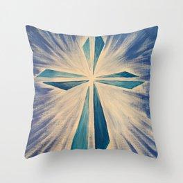 Radiant Blue Cross Throw Pillow