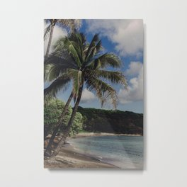 Hawaii Haze - Tropical Beach with Palm Trees Metal Print