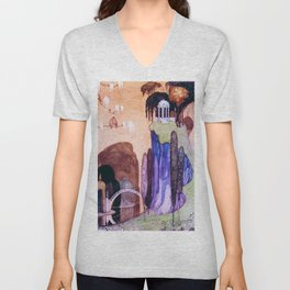 A Hilltop Landscape With A Drum Bridge And A Greek-style Awning Unisex V-Neck