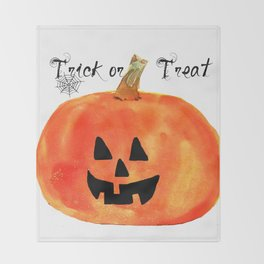 Trick or Treat Jack-O-Lantern, Halloween Pumpkin Throw Blanket