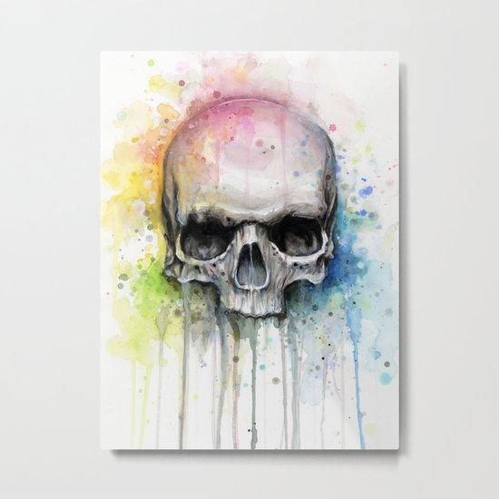Skull Rainbow Watercolor Painting Skulls Metal Print