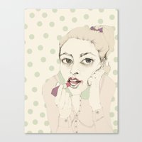 lipstick Canvas Prints featuring lipstick by Cecilia Sánchez