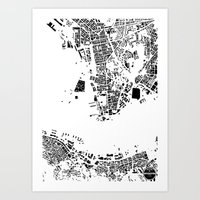 hong kong Art Prints featuring Hong Kong by Maps Factory