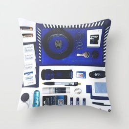 Junk Drawer: Azure Throw Pillow