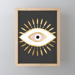 gold foil evil eye in blush Framed Mini Art Print