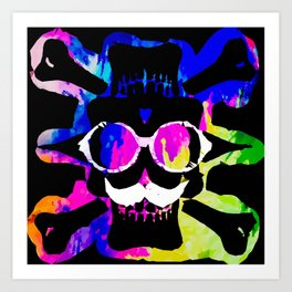 old vintage funny skull art portrait with painting abstract background in pink blue yellow green Art Print
