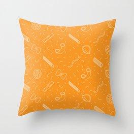 Tasty food, pasta spaghetti linear pattern, restaurant theme Throw Pillow