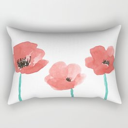 Three Poppies \\ Watercolor Flowers Rectangular Pillow