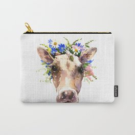 Cow Head, Floral Farm Animal Artwork farm house design, cattle Carry-All Pouch