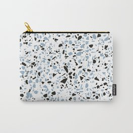 'Speckle Party' Blue Black and White Speckle Terrazzo Pattern Carry-All Pouch