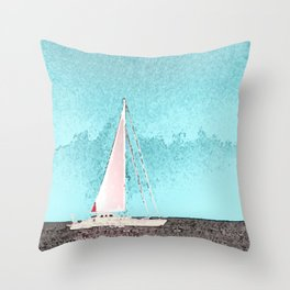 """Sailboat #5"" Art of the Sea by Murray Bolesta Throw Pillow"