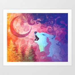 Howl @ The Moon Art Print