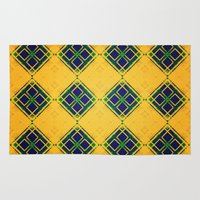 yellow pattern Area & Throw Rugs featuring Yellow by Raluca Ag