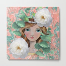 Painted Girl on Coral Background Metal Print