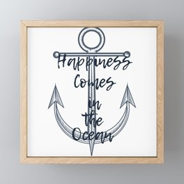 Happiness comes in the ocean Framed Mini Art Print
