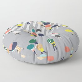 Crossing The Street on a Rainy Day - Grey Floor Pillow