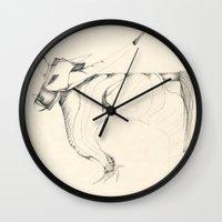 bull Wall Clocks featuring Bull by Attila Hegedus