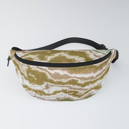 Green and toasted sienna marbling texture Fanny Pack