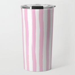 Pink and White Cabana Stripes Palm Beach Preppy Travel Mug
