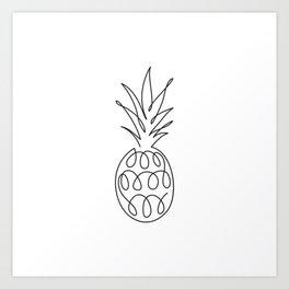 Abstract pineapple. Single line drawing. Minimalistic art. Art Print