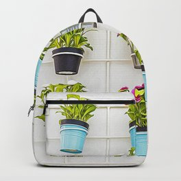 Colorful flower pots hanging from a white wall Backpack